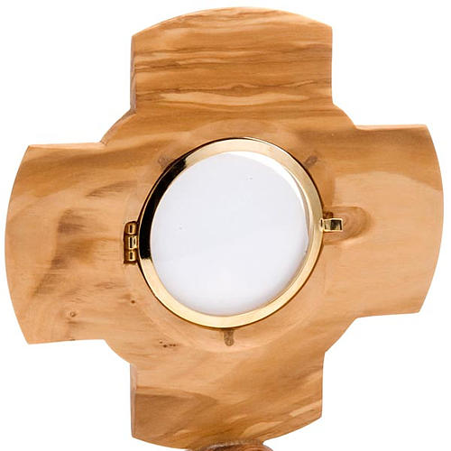 Custodia de Olivo  cruz diámetro 8cm 3