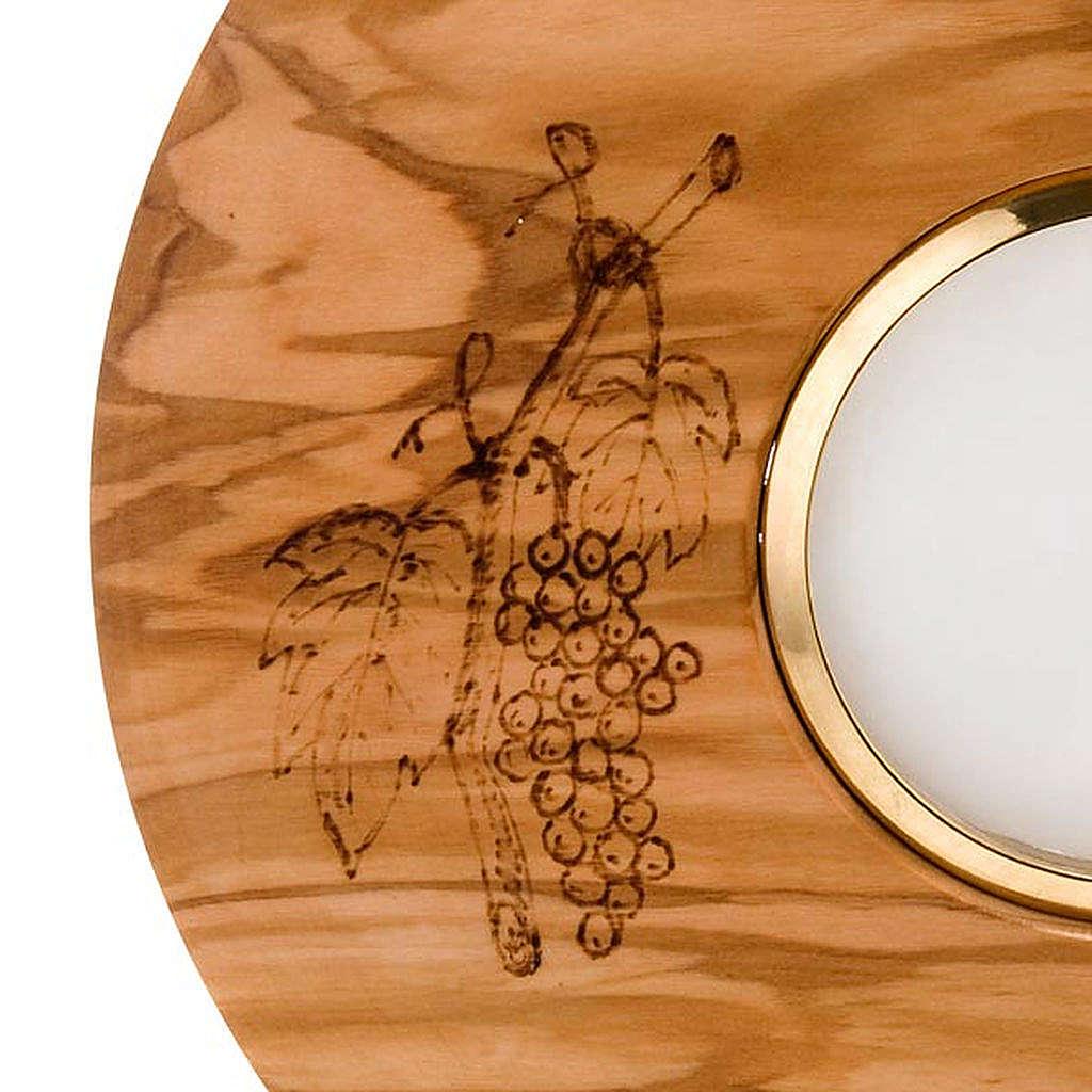 Ostensorio con teca diam cm 8 tondo in olivo decori spighe uva 4