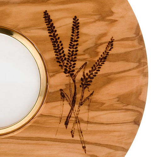 Ostensorio con teca diam cm 8 tondo in olivo decori spighe uva 7