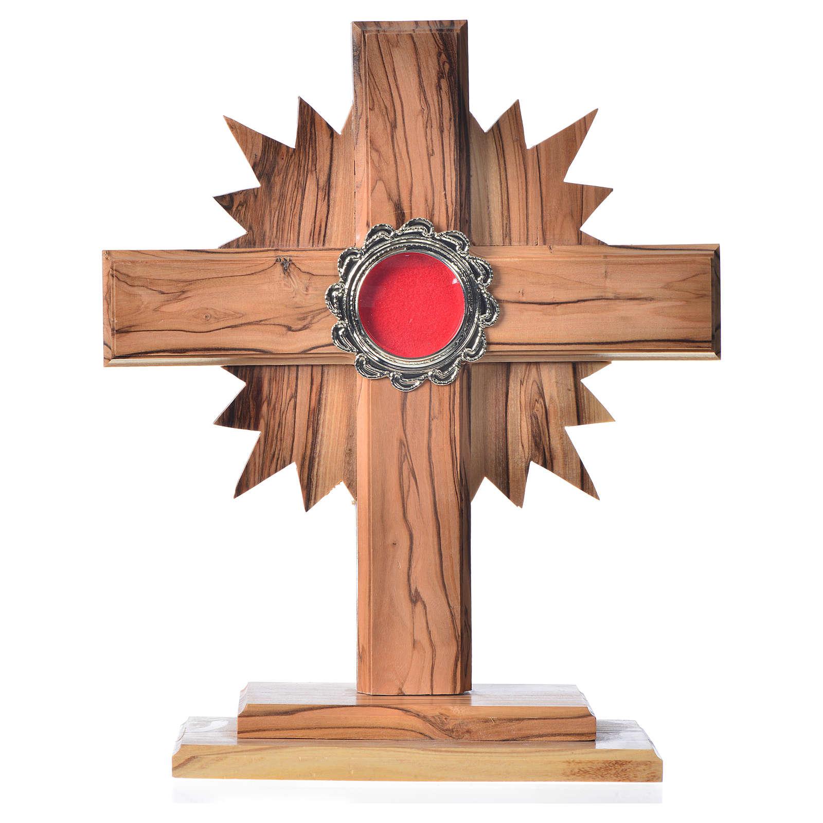Relicario de olivo, cruz con rayos 20cm, custodia de metal plate 4