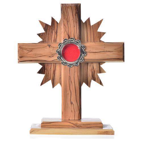 Relicario de olivo, cruz con rayos 20cm, custodia de metal plate 1
