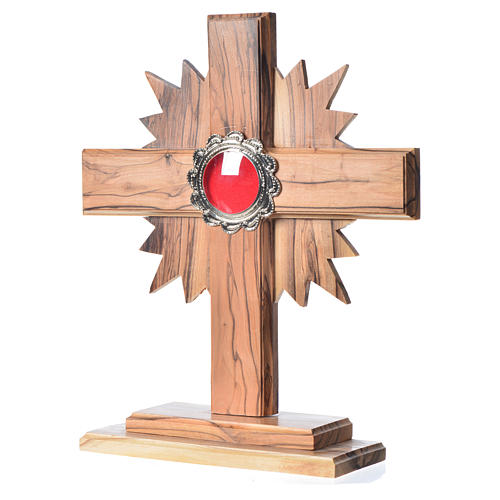 Reliquary in olive wood with rays H20cm, display in silver meta 2