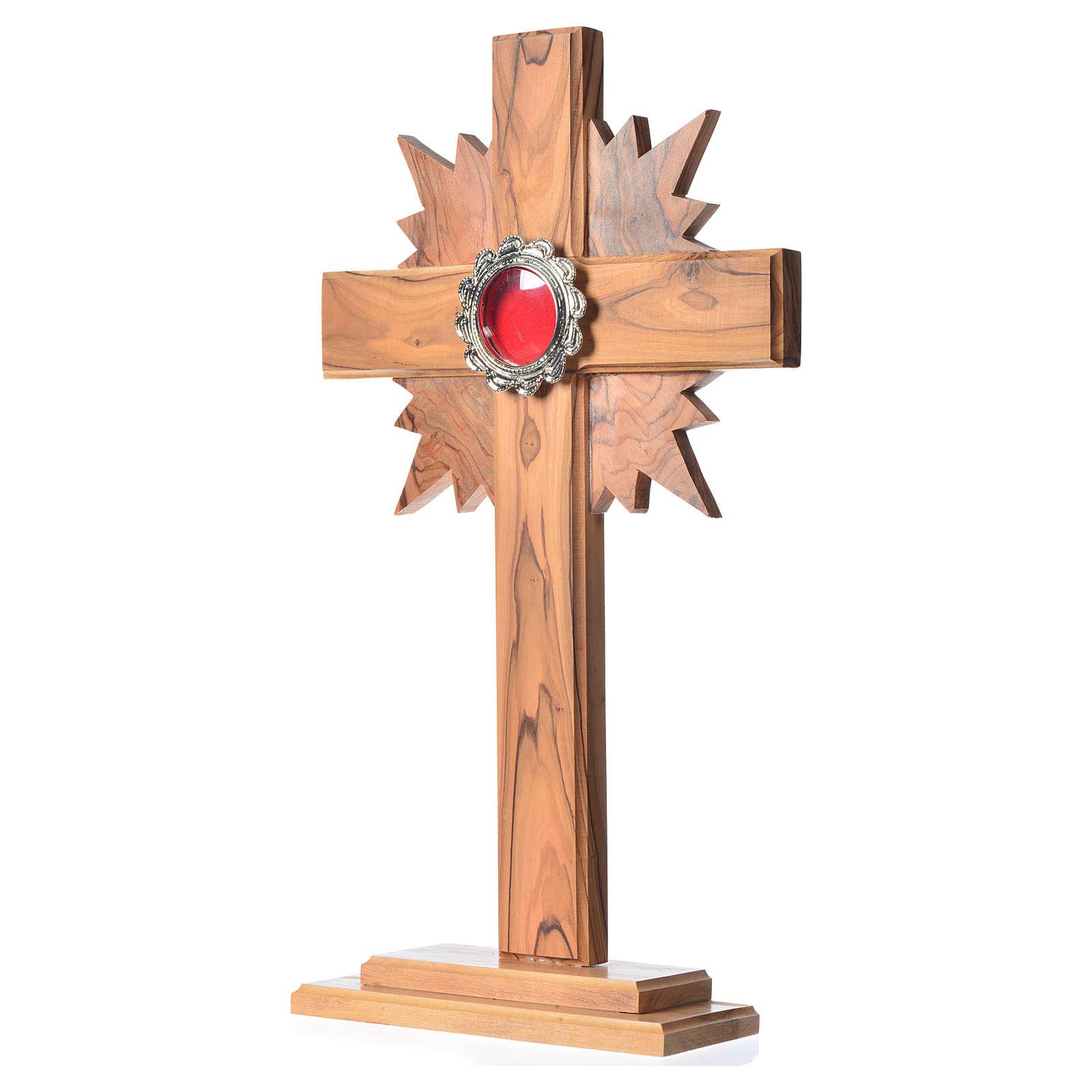 Relicario de olivo, cruz con rayos 29cm, custodia de metal plate 4