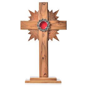 Custodias (ostensorios), Relicarios de olivo: Relicario de olivo, cruz con rayos 29cm, custodia de metal plate