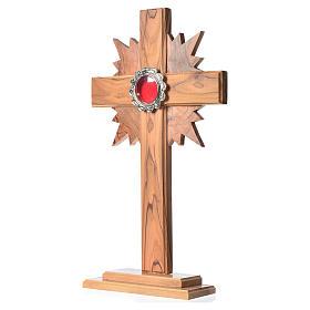 Relicario de olivo, cruz con rayos 29cm, custodia de metal plate s2