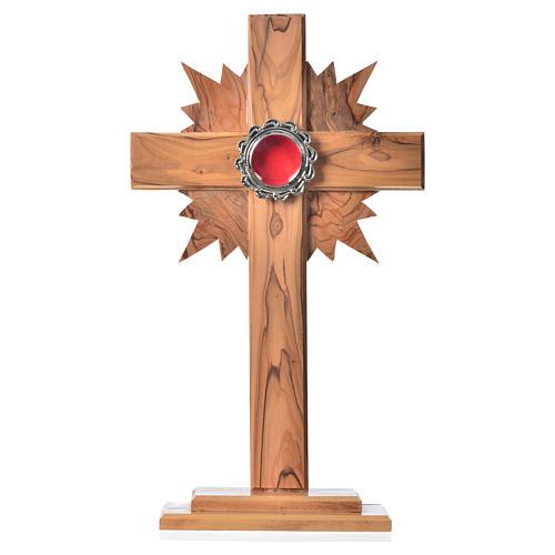 Relicario de olivo, cruz con rayos 29cm, custodia de metal plate 1