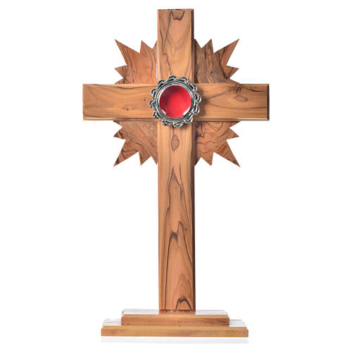 Reliquary in olive wood with rays H29cm, display in silver meta 1