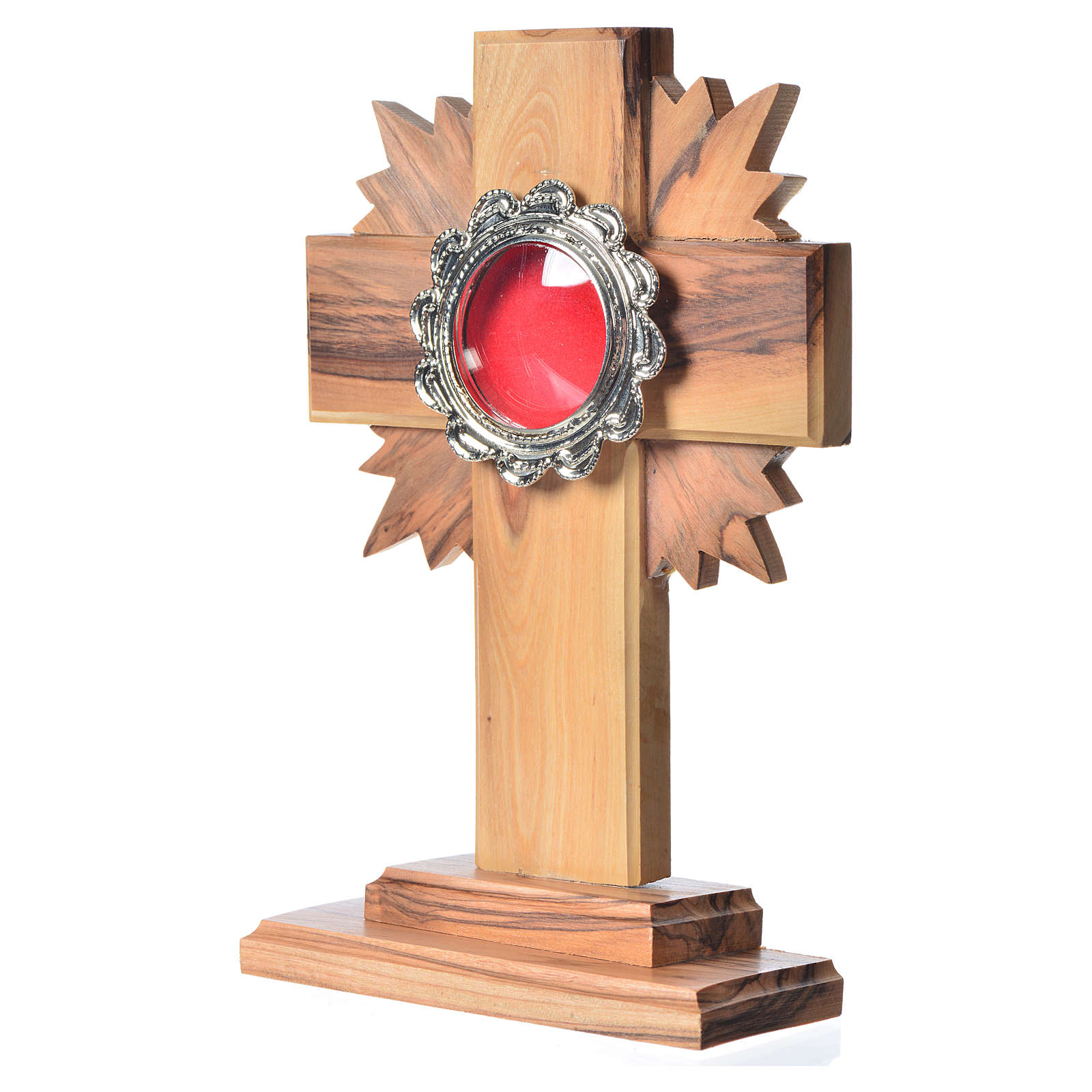 Reliquary in olive wood with rays H15cm, display in silver meta 4