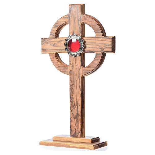 Reliquary in olive wood H29cm, display in silver metal 2