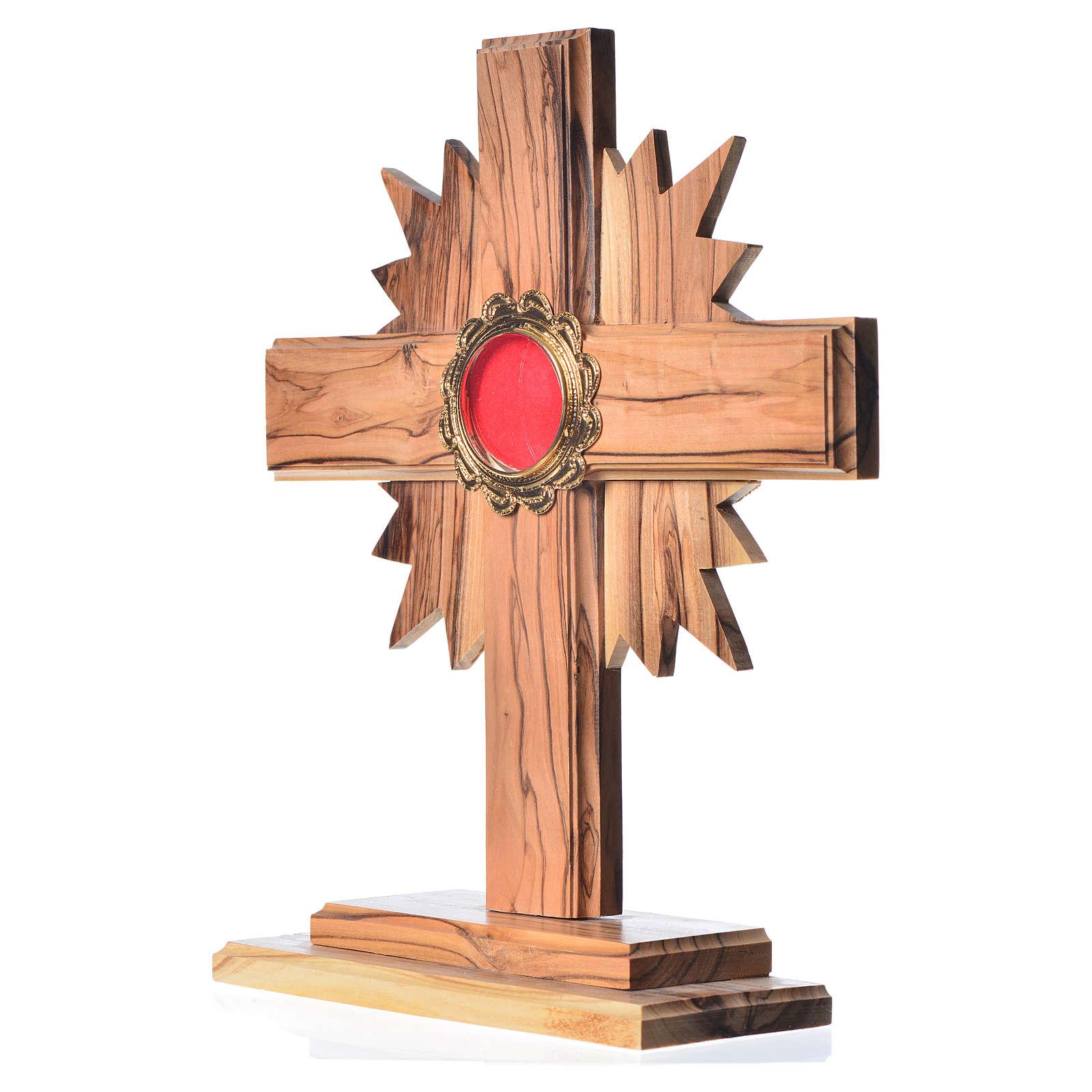 Relicario de olivo con cruz con rayos 20cm, custodia de metal do 4