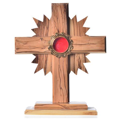 Relicario de olivo con cruz con rayos 20cm, custodia de metal do 1