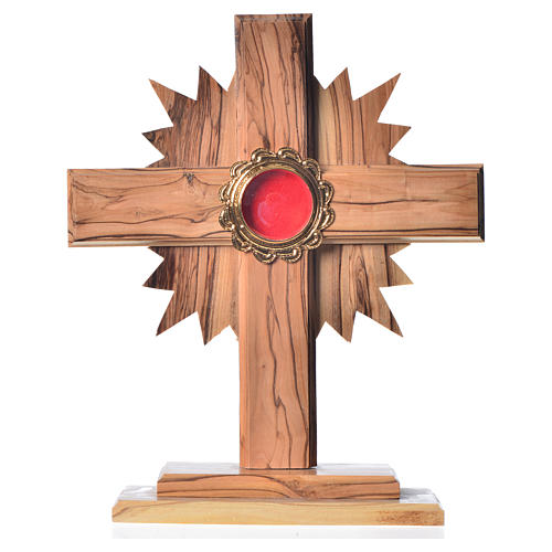 Reliquary in olive wood with rays H20cm, display in golden meta 1