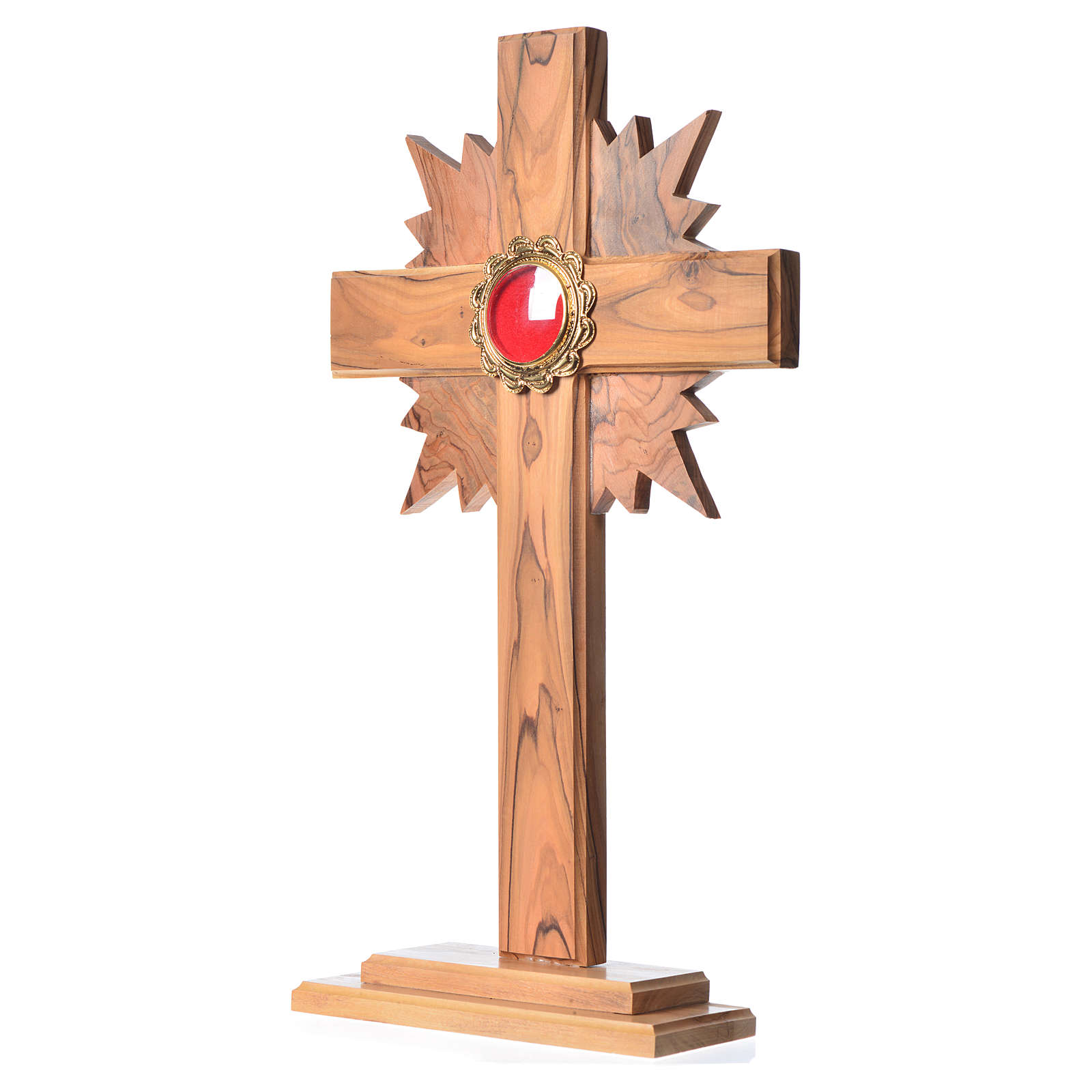 Reliquary in olive wood with rays H29cm, display in golden meta 4