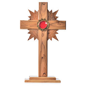 Reliquary in olive wood with rays H29cm, display in golden meta s1