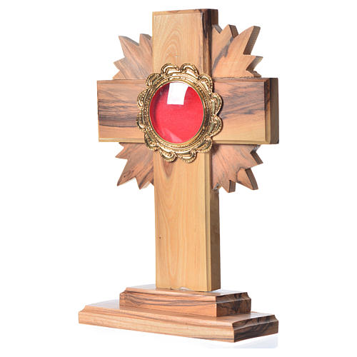 Monstrance in olive wood with rays H15cm, display in golden meta 2