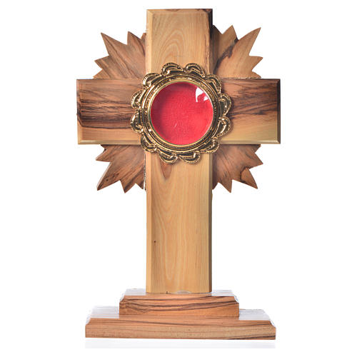 Monstrance in olive wood with rays H15cm, display in golden meta 1