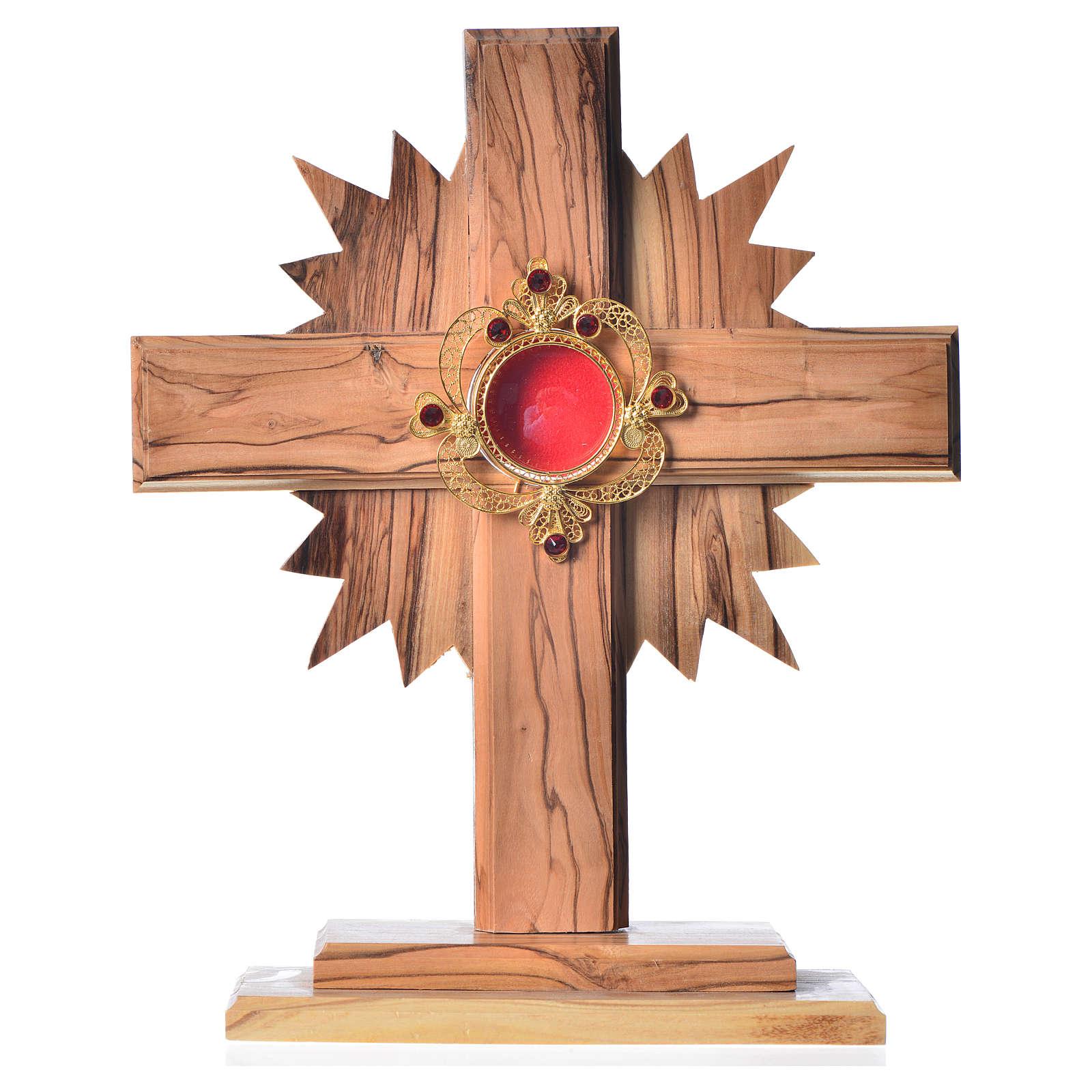 Relicario olivo, cruz y rayos 20cm custodia plata 800 y piedras 4