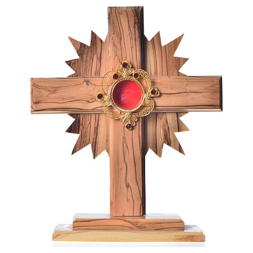 Reliquary in olive wood with rays H20cm, display 800 silver sto 1