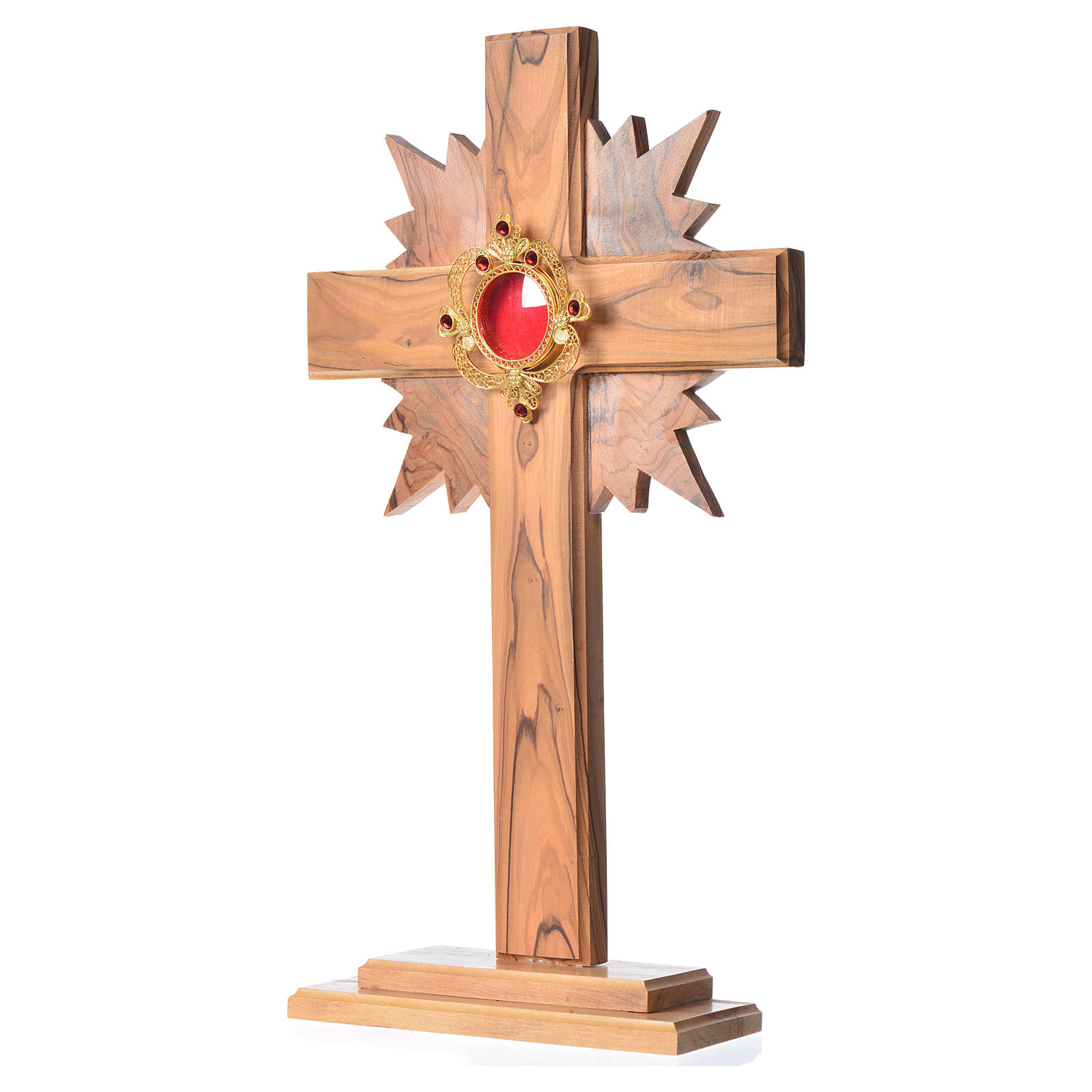 Monstrance in olive wood with rays H29cm, display 800 silver sto 4