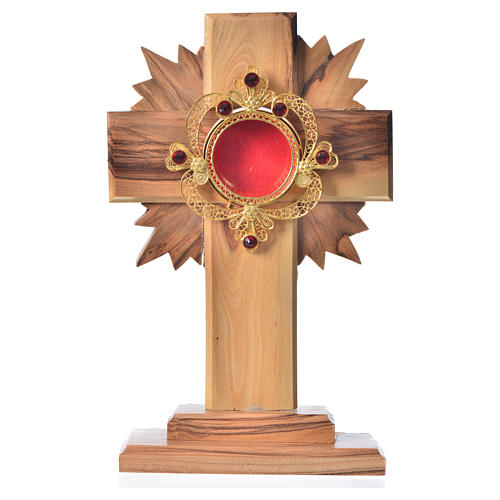 Monstrance in olive wood with rays H15cm, display 800 silver sto 1