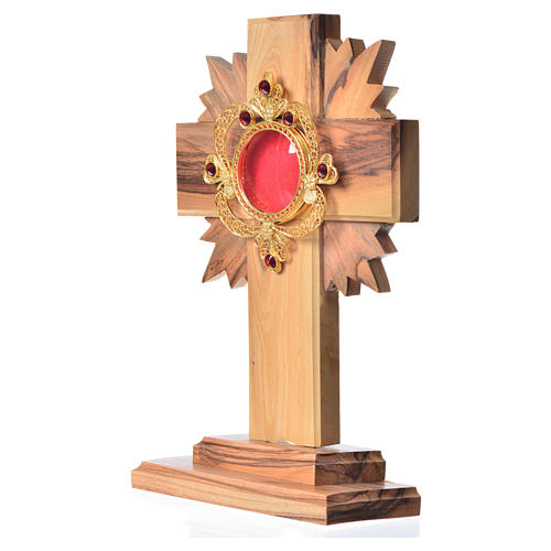 Monstrance in olive wood with rays H15cm, display 800 silver sto 2