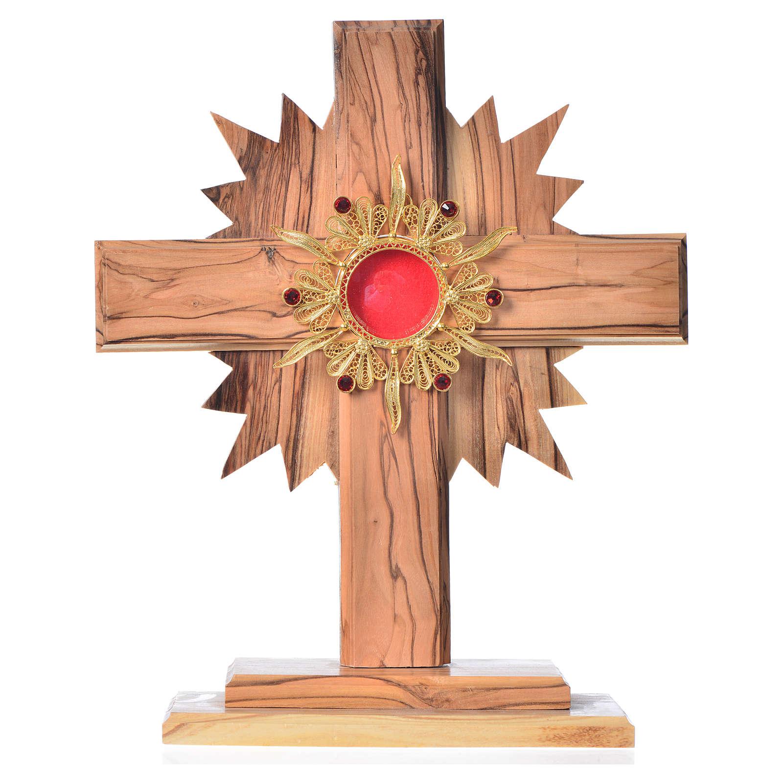 Relicario olivo, cruz con rayos, mide 20cm custodia plata 800 y 4