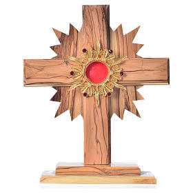Monstrance in olive wood with rays H20cm, display 800 silver sto s1