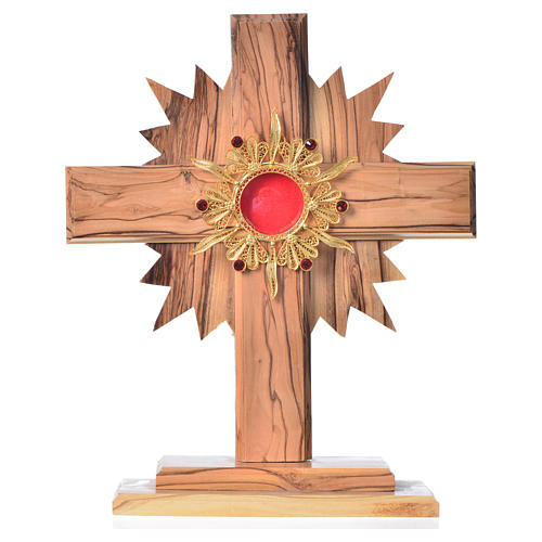 Monstrance in olive wood with rays H20cm, display 800 silver sto 1