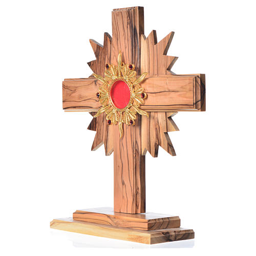 Monstrance in olive wood with rays H20cm, display 800 silver sto 2