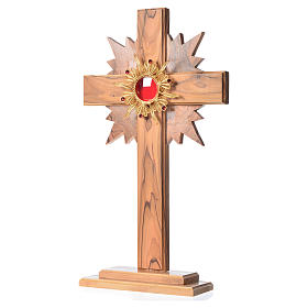 Monstrance in olive wood with rays H29cm, display golden 800 sil s2