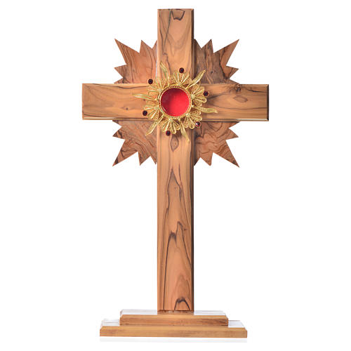 Monstrance in olive wood with rays H29cm, display golden 800 sil 1