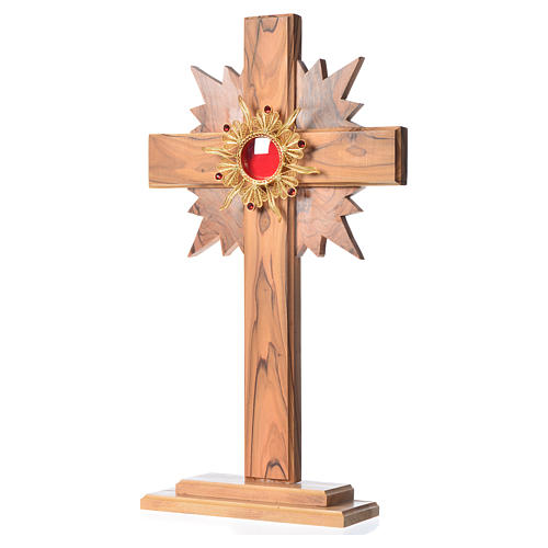 Monstrance in olive wood with rays H29cm, display golden 800 sil 2