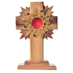 Monstrance H15cm in olive wood with rays, display 800 silver sto s1