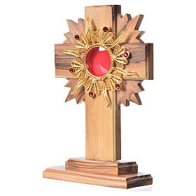 Monstrance H15cm in olive wood with rays, display 800 silver sto s2