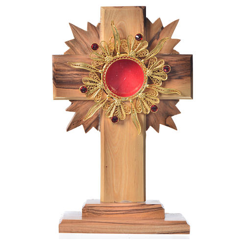 Monstrance H15cm in olive wood with rays, display 800 silver sto 1
