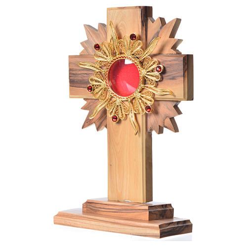 Monstrance H15cm in olive wood with rays, display 800 silver sto 2