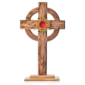Monstrance H29cm in olive wood with rays, display 800 silver sto s1