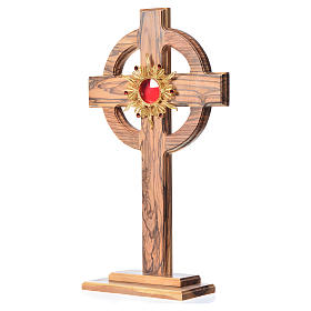 Monstrance H29cm in olive wood with rays, display 800 silver sto s2
