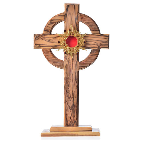 Monstrance H29cm in olive wood with rays, display 800 silver sto 1