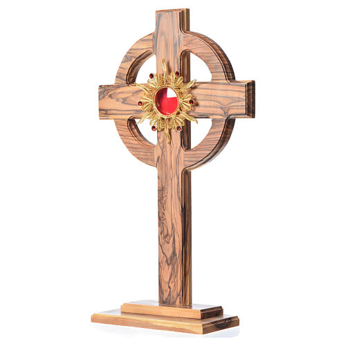Monstrance H29cm in olive wood with rays, display 800 silver sto 2