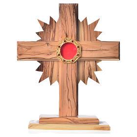 Relicário oliveira cruz raios h 20 cm espaço octogonal prata s1