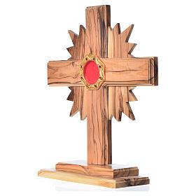 Relicário oliveira cruz raios h 20 cm espaço octogonal prata s2