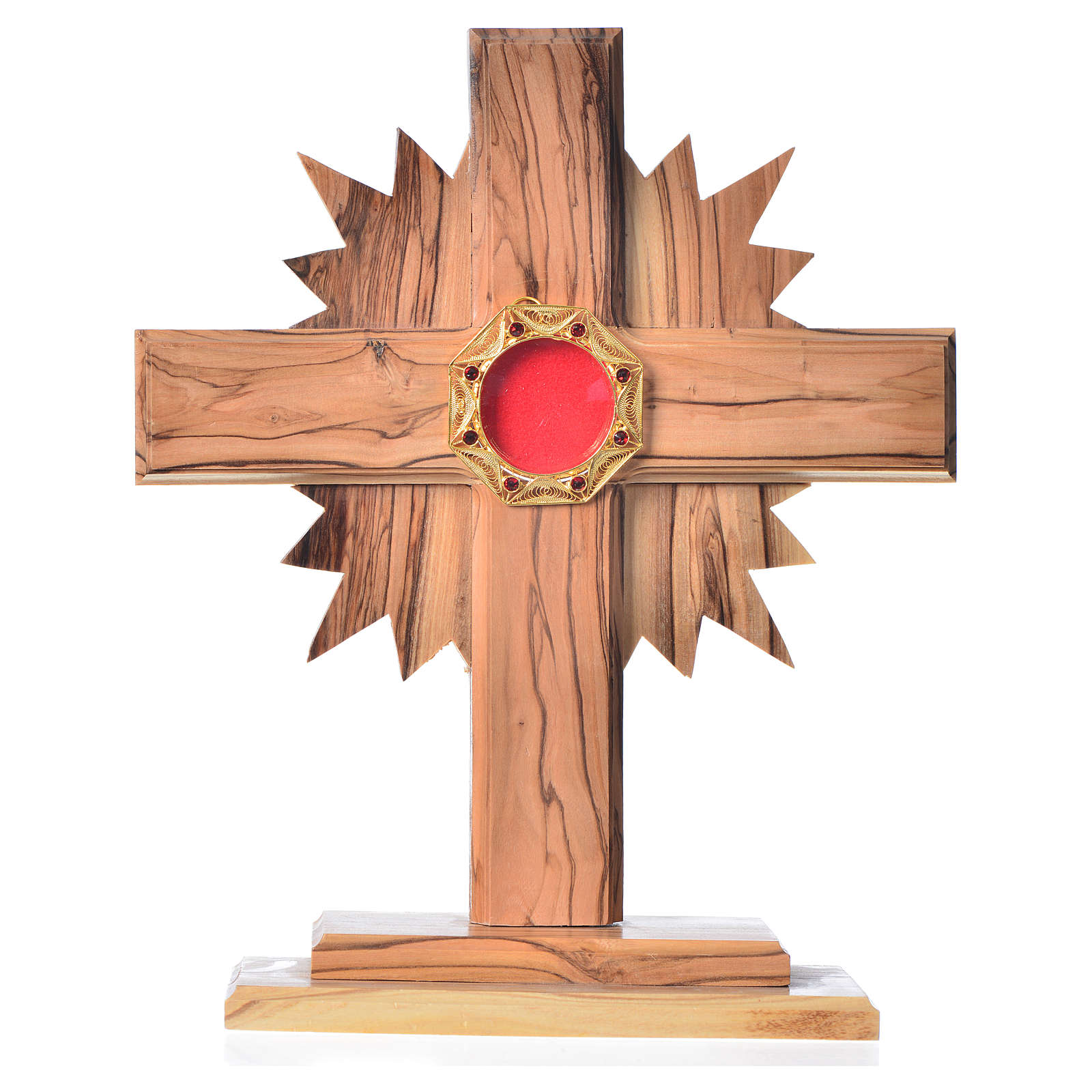 Monstrance H20cm in olive wood with rays, display 800 silver sto 4