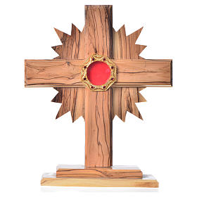 Monstrance H20cm in olive wood with rays, display 800 silver sto s1