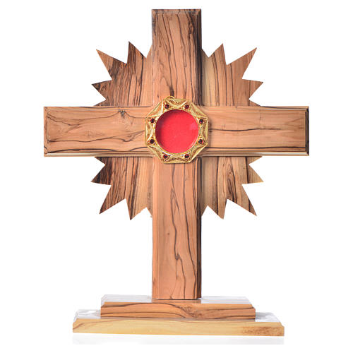 Monstrance H20cm in olive wood with rays, display 800 silver sto 1