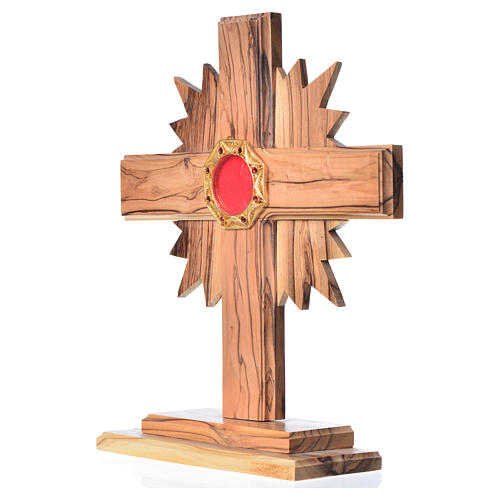 Monstrance H20cm in olive wood with rays, display 800 silver sto 2