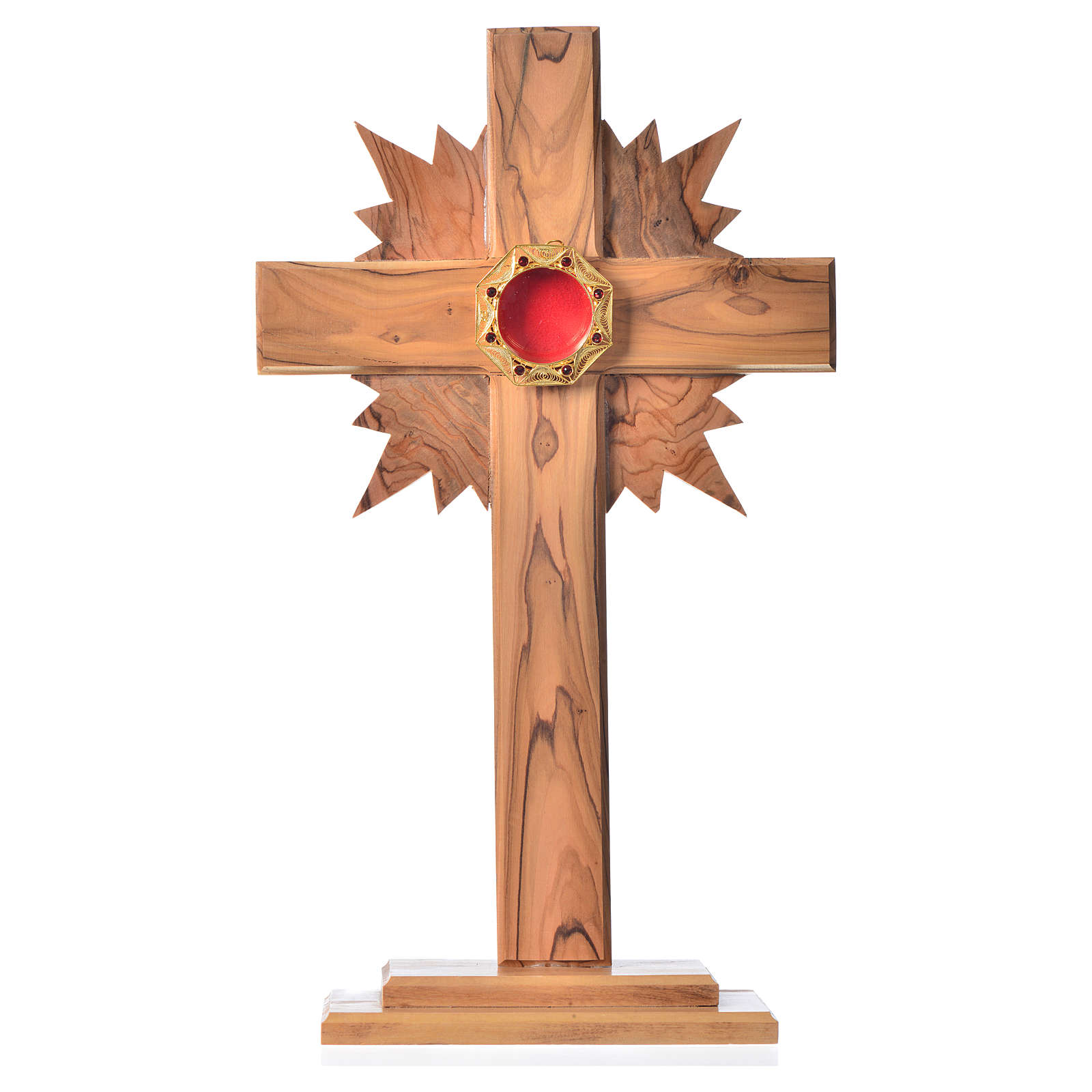 Monstrance H29cm in olive wood with rays, octagonal display 800 4