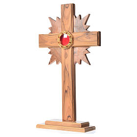 Monstrance H29cm in olive wood with rays, octagonal display 800 s2
