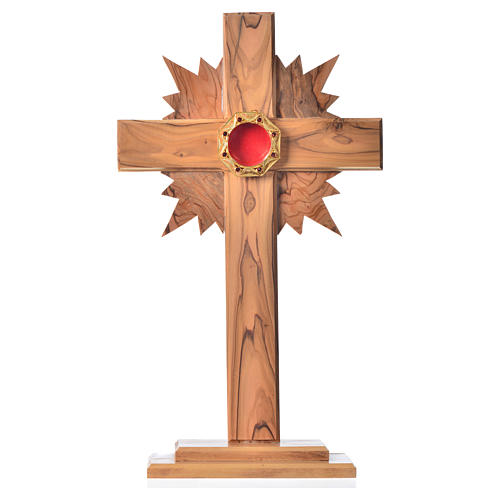 Monstrance H29cm in olive wood with rays, octagonal display 800 1