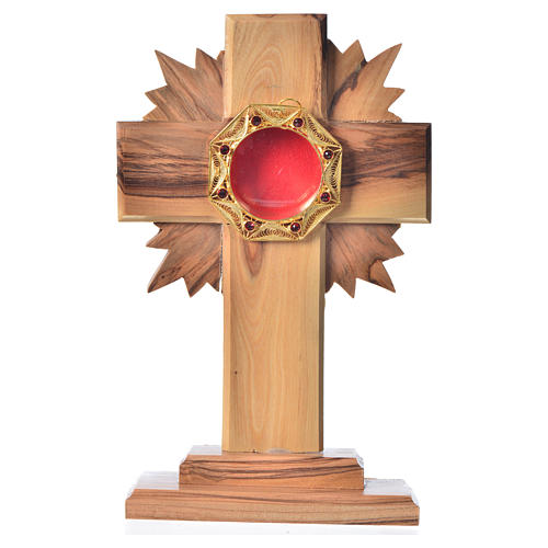 Monstrance H15cm in olive wood with rays, octagonal display 800 1